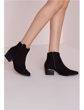 western-pointed-toe-ankle-boots-black by missguided