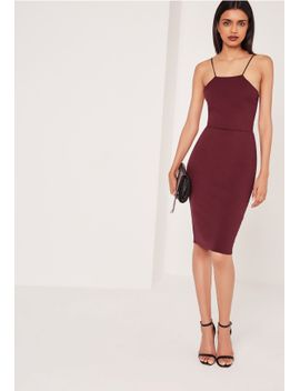 crepe-strappy-cut-out-back-midi-dress-burgundy by missguided
