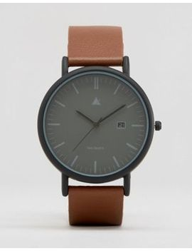 asos-minimal-watch-in-black-with-brown-leather-strap by asos