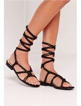 rope-lace-up-flat-sandals-black by missguided