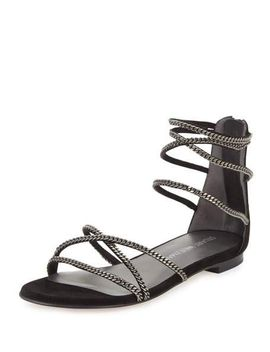 chaindown-strappy-flat-sandal,-black by stuart-weitzman