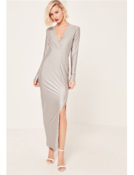 grey-silky-plunge-maxi-dress by missguided