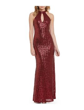 b-darlin-choker-neckline-long-sequin-mermaid-dress by generic