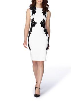 appliqué-crepe-sheath-dress by tahari