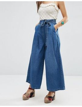 asos-denim-super-wide-leg-jeans-with-tie-waist-in-mid-wash-blue by asos-collection