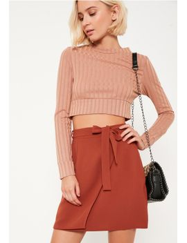 brown-tie-side-woven-asymmetric-skirt by missguided