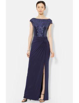 sequin-&-jersey-gown by lauren-ralph-lauren