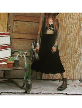 sale-mermaid-hem-velvet-midi-skirt-black-rayon-_-saskia-city-_-japan-_-japanese-_-1990s-_-90s-_-size-small-_-high-waist-_-a-line-_-bohemian by hypnoticavintage