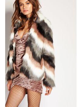 chevron-pattern-faux-fur-coat by forever-21