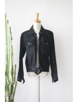70s-black-suede-jacket-biker-babe-jacket-distressed-black-suede-jacket-witchy-woman-jacket-suede-bomber-jacket-motorcycle-jacket-sizem by foresthilltradingco