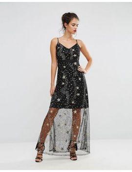 boohoo-sequin-star-print-maxi-dress by boohoo