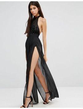 naanaa-sheer-high-neck-maxi-dress-with-sequin-bodice by naanaa