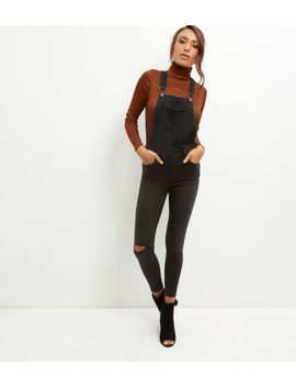 black-ripped-knee-skinny-dungarees by new-look