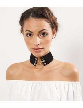 gold-lace-up-choker by new-look