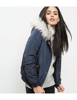 navy-faux-fur-trim-hooded-bomber-jacker by new-look