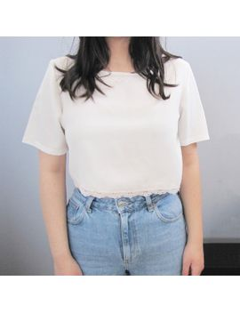 s-a-l-e-_-vintage-minimal-white-crop-top-_-embroidered-pink-lace-_-sheer-silky-boho-scalloped by strangervintage