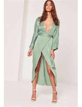 silky-kimono-midi-dress-duckegg-blue by missguided