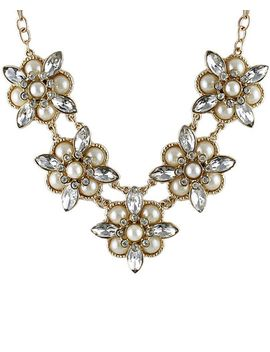 gold-diamond-bead-flower-necklace by sheinside