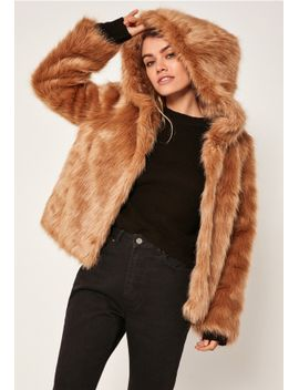 camel-hooded-faux-fur-coat by missguided