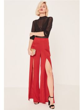 satin-split-front-wide-leg-pants-red by missguided