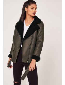 khaki-faux-suede-shearling-lined-aviator-jacket by missguided