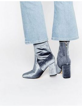 truffle-grey-velvet-high-ankle-boot by shoes