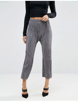 asos-wide-leg-pleated-plisse-trousers-with-raw-hem by asos-collection