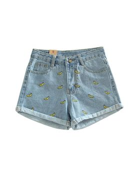 tengo-women-embroidered-curling-denim-shorts-summer-shorts by tengo