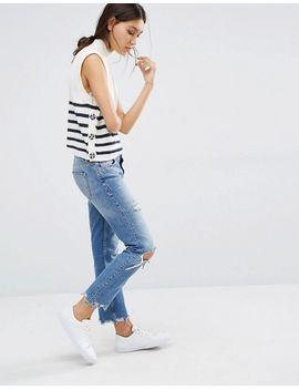 vero-moda-stripe-button-side-crop-sweater by vero-moda