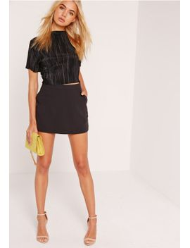 high-waisted-classic-skort-shorts-black by missguided