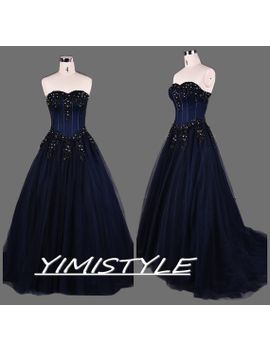 navy-blue-prom-dresses,navy-blue-long-prom-dresses,long-navy-blue-prom-dress,navy-blue-prom-dresses-cheap,ball-gown-prom-dress-long by yimistyle