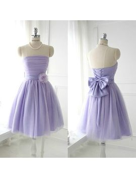 yimistyle-custom-made-off-shoulder-light-purple-short-bridesmaid-dress-prom-dress by yimistyle