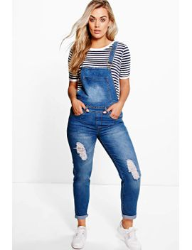 plus-lottie-denim-dungaree by boohoo