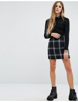 motel-checked-wool-diaz-skirt-co-ord by motel