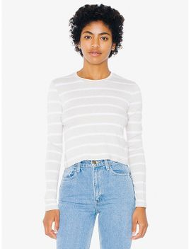 striped-compact-jersey-mid-length-long-sleeve-top by american-apparel