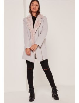 faux-fur-lined-faux-wool-longline-biker-jacket-nude by missguided