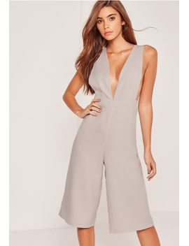 crepe-side-boob-culotte-jumpsuit-grey by missguided