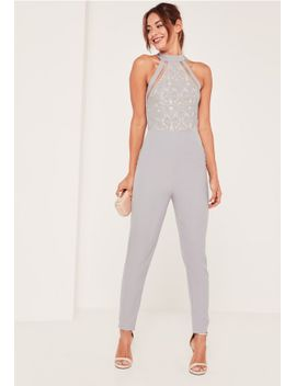 grey-lace-high-neck-sleeveless-jumpsuit by missguided