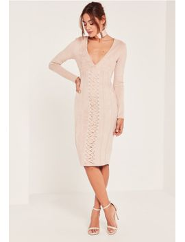 nude-plunge-lace-detail-suede-mini-dress by missguided