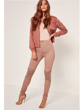 nude-vice-high-waisted-zip-knee-biker-skinny-jean by missguided