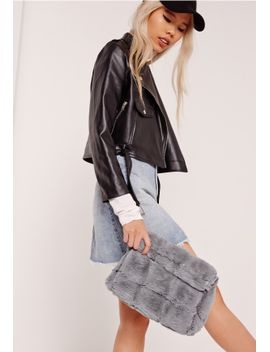 grey-faux-fur-roll-top-clutch-bag by missguided