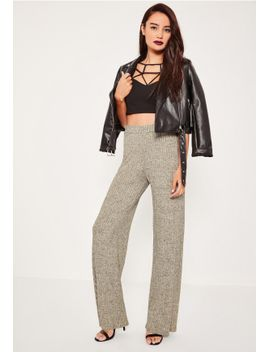 gold-marl-vertical-ribbed-wide-leg-trousers by missguided