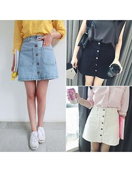 buttoned-denim-mini-skirt by dream-bear