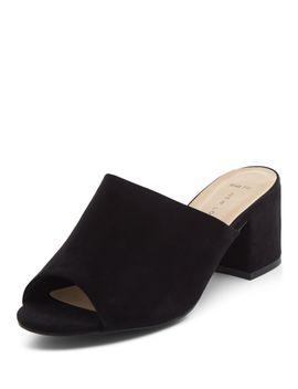 wide-fit-black-peep-toe-block-heel-mules by new-look