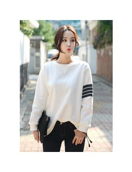 stripe-trim-brushed-fleece-sweatshirt by deepny