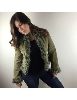 [vintage]-green-leather-jacket-with-faux-fur-small by vintage