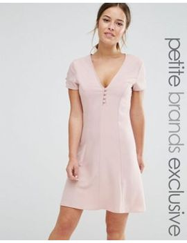 alter-petite-button-front-short-sleeve-skater-dress by alter-petite