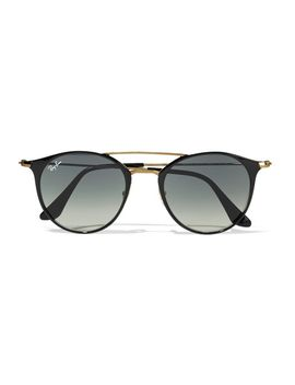 round-frame-acetate-and-gold-tone-sunglasses by ray-ban
