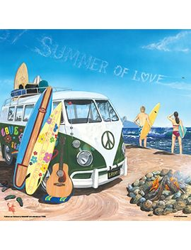 scott-westmoreland-summer-of-love-volkswagen-on-beach-decorative-art-poster-print-(unframed-12-x-12-print) by culturenik