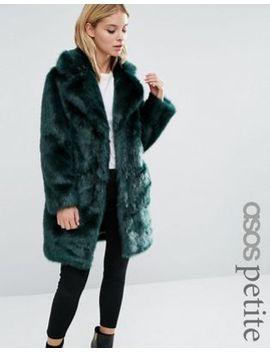 asos-petite-coat-in-plush-faux-fur by asos-petite